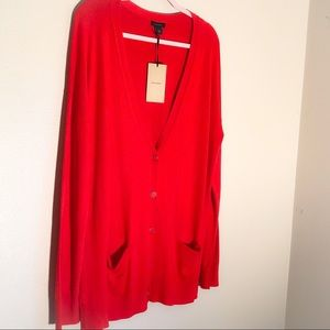 HALOGEN RELAXED POCKET CARDIGAN NWT RED BLOOM